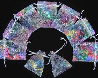 """50 4""""x 6"""" White Coralline Organza Jewelry Pouch"""