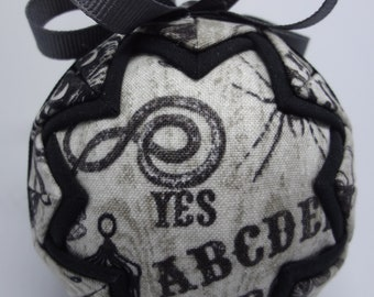 Quilted Fabric Ornament Ouija Halloween Yes No