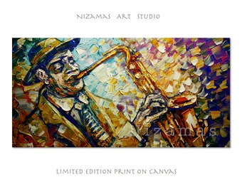 Jazz Night figure Art Giclee on canvas Home wall Decor by Nizamas Ready to hang