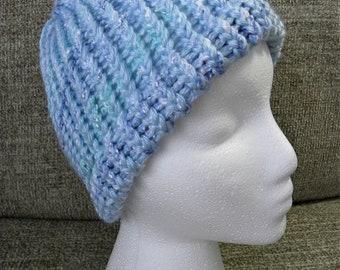 Super Soft Pretty Blues and White Child's Knit Hat