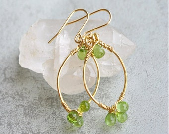 Real - hoop earrings gold and green stone - August birthstone jewelry - gift for MOM mothers day