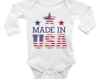 Made In USA Bodysuit. Baby Creeper. Custom Bodysut. 4th of July Baby Bodysuit. Independence Day. Boy. Girl.