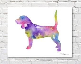 Beagle Art Print - Abstract Watercolor Painting - Wall Decor