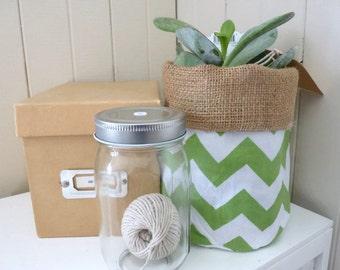 Green and White Chevron Pot Plant Bin or Basket with Burlap Hessian - Medium Size. Bathroom, Study Storage or Bedroom Organisation!