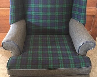 Black Watch Plaid Fireside Wingback Chair
