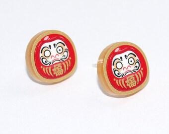 Gold Acrylic Lucky Daruma Earrings - Silver Plated Studs