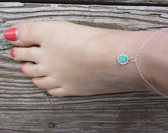 Anklets for Women, Opal Anklet, Black Opal, October Birthstone, beach anklet, Opal Anklet,  Opal, Libra Birthday, Something Blue