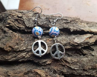 Hippie peace earrings | Peace earrings | Flower earrings | Flower peace earrings | Flower power | Hippie jewellery | Boho jewellery | Hippie