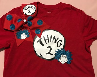 Thing 1, 2, 3 Dr. Seuss Theme shirts and matching bow