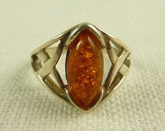 Size 6 Vintage Sterling and Amber Ring