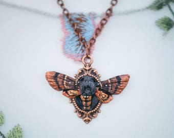 Moth Necklace with frame copper