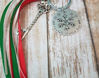 Santa's Magic Key Hand stamped Christmas Ornament