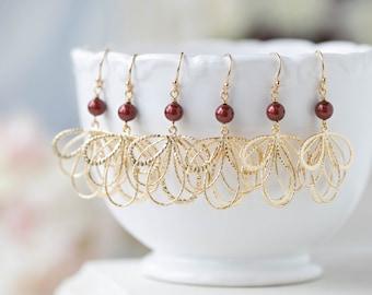 Burgundy Earrings, Wine Dark Red Maroon Marsala Wedding Gold Dangle Earrings, Bridal Earrings, Bridesmaid Earrings, Bridal Party Gift