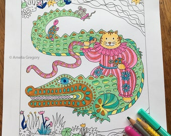 Coloring Pages for Adults, Adult Colouring Book, Cat Coloring Pages, Crocodile, Whimsical Art, Cat Art, Printable Wall Art, Cat Art Print