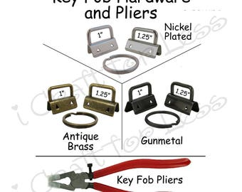 5 Key Fob Hardware with Key Rings and Pliers Combo - Plus Instructions - SEE COUPON