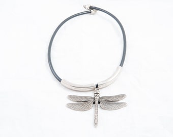 10. Leather Necklace with Dragonfly