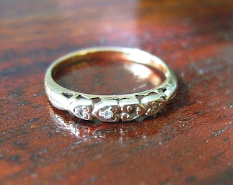 Dainty Vintage Diamond Wedding Band - Wedding Ring - Missing One Diamond - Hearts - 1950s to 1960s - As Is
