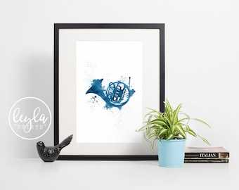 How I Met Your Mother Print - Blue French Horn | A6/A5/A4/A3 Minimalist Art Print | HIMYM TV Poster | For Him, For Her