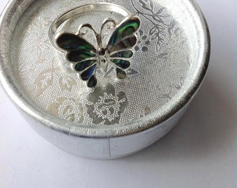 Sterling silver abalone ring, sterling silver ring, butterfly ring, for her, abalone, accesories, vintage ring
