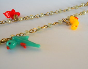 Glass Bird And Pearl Choker - Festish Style Bird Charms - Art Glass Miniature Birds - Prissys Newberry Antiques