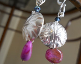 Glam Gal earrings - Hill Tribe silver, pink crazy lace agate, blue Swarovskis