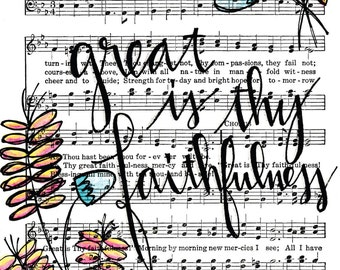 Great is Thy Faithfulness 5x7 Print Hymn Fine Art Hymnal Watercolor Ink Painting Praise Sheet Music Hand Lettering Calligraphy War Room