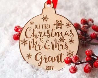 Our First Christmas Ornament Married - Personalized Christmas Ornaments - Mr and Mrs - Gifts Couple - Newlywed Gift - Just Married - Mr Mrs