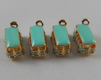 "2jolies charms ""combi W"" in gold plated, enameled metal and rhinestones 18 * 10mm"