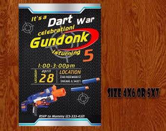 Nerf Gun Invitation - Nerf Gun Birthday - Nerf Gun Party Invitation - Nerf Gun Printable - Nerf Gun Birthday Card - Digital Download.