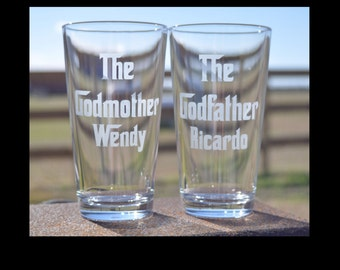 Pair of Etched Godmother and Godfather Hiball Tumblers perfect for Baptism Godparents gift - by Jackglass on Etsy