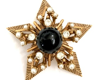 Florenza Renaissance Revival Star Brooch, Three Dimensional Design, High Domed Black Glass Cabochon, Faux Pearls, Antiqued Gold Tone, Signed