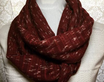 Maroon with White Speckles Knit Infinity Scarf