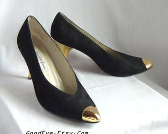 Size 9 .5 M Black Suede Leather Pumps / Gold METAL Heels and Toes /sz Eur 41 UK 7 / Saks Fifth Ave Shoes Made Italy