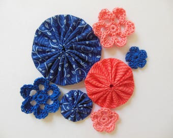 Yo-Yos and Crocheted Flowers - Coral and Royal Blue - Cotton Appliques - Cotton Embellishments