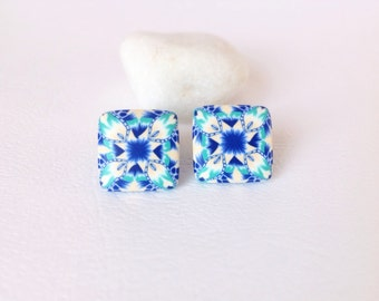 Modern Earrings  , Polymer Clay Earrings , Everyday earrings , Stud earrings  , Geometric earrings , Blue Green White earrings