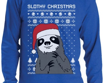 Slothy Xmas - Ugly Christmas Sweater Men's Long Sleeve T-Shirt