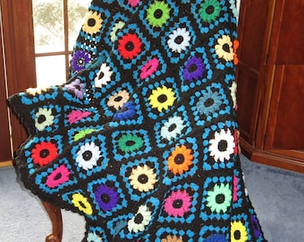 """Large Afghan Blanket - Stained Glass Design Colorful Crocheted Flowers - Couch Bed Dorm Room Hospice 72"""" x 60"""" - Hand Made USA Item 5006"""