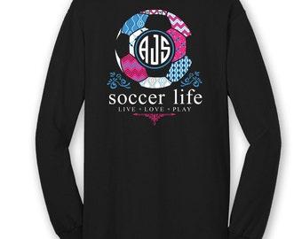 OFFICIAL TM SOCCER Life Custom Monogram Long Sleeve T-Shirt Soccer Shirt Soccer Tee