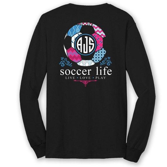 OFFICIAL TM SOCCER Life Custom Monogram Long Sleeve T-Shirt Soccer Shirt Soccer Tee q5K95XWRF