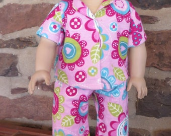 """18"""" Doll Clothes Pink Floral Flannel Pajamas"""