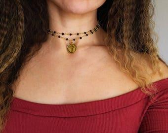 Layered rosary chain cross pendant choker necklace