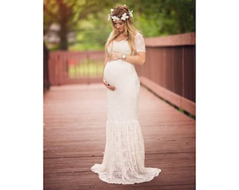 Maternity Dress-Maternity Gown-Baby Shower Dress-Lace Maternity Gown-Maxi Gown-Maxi Maternity Dress-White Maternity Dress-EMMA Gown