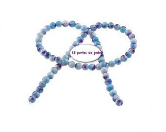 68 Jade 6mm blue purple Rainbow beads