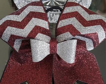 Maroon/Silver Chevron Glitter Cheer Bow.