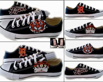 Tiger Baseball, Converse, Chucks, SPorts Fan, Baseball, Sneakers, Detroit, Detroit Tiger Fans, Shoes Included