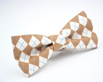 Mens Bowtie in Light Brown Argyle, Plaid Bow Tie, Groomsmen Bow Tie, Wedding Bow Ties