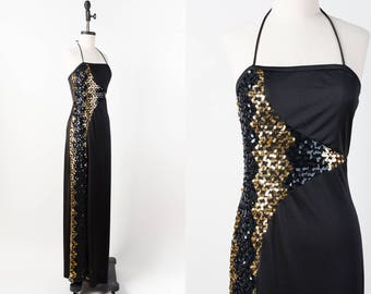 70s Dress - Vintage 1970s Disco Dress - Black & Gold Glam Sequin Maxi Dress with Halter Straps and Thigh High Slit - Ultra Long Length - M