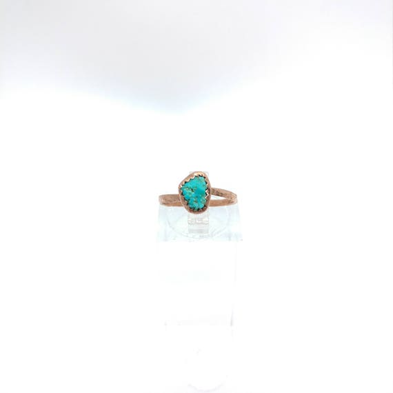 Raw Crystal Ring | Raw Turquoise Ring | Copper Ring Sz 5.5 | Turquoise Nugget Ring | Rustic Womens Ring | Natural Turquoise Ring