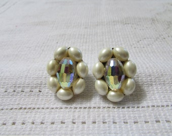 vintage AB crystal and faux pearl  cluster clip on earrings 50's classics wedding bridal prom
