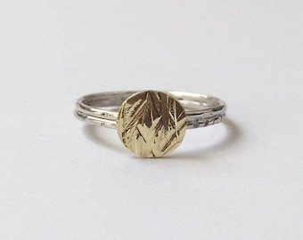 MEADOW RING - Sterling Silver and Brass Hammered Ring - Silver Thin Ring - Silver Circle Ring